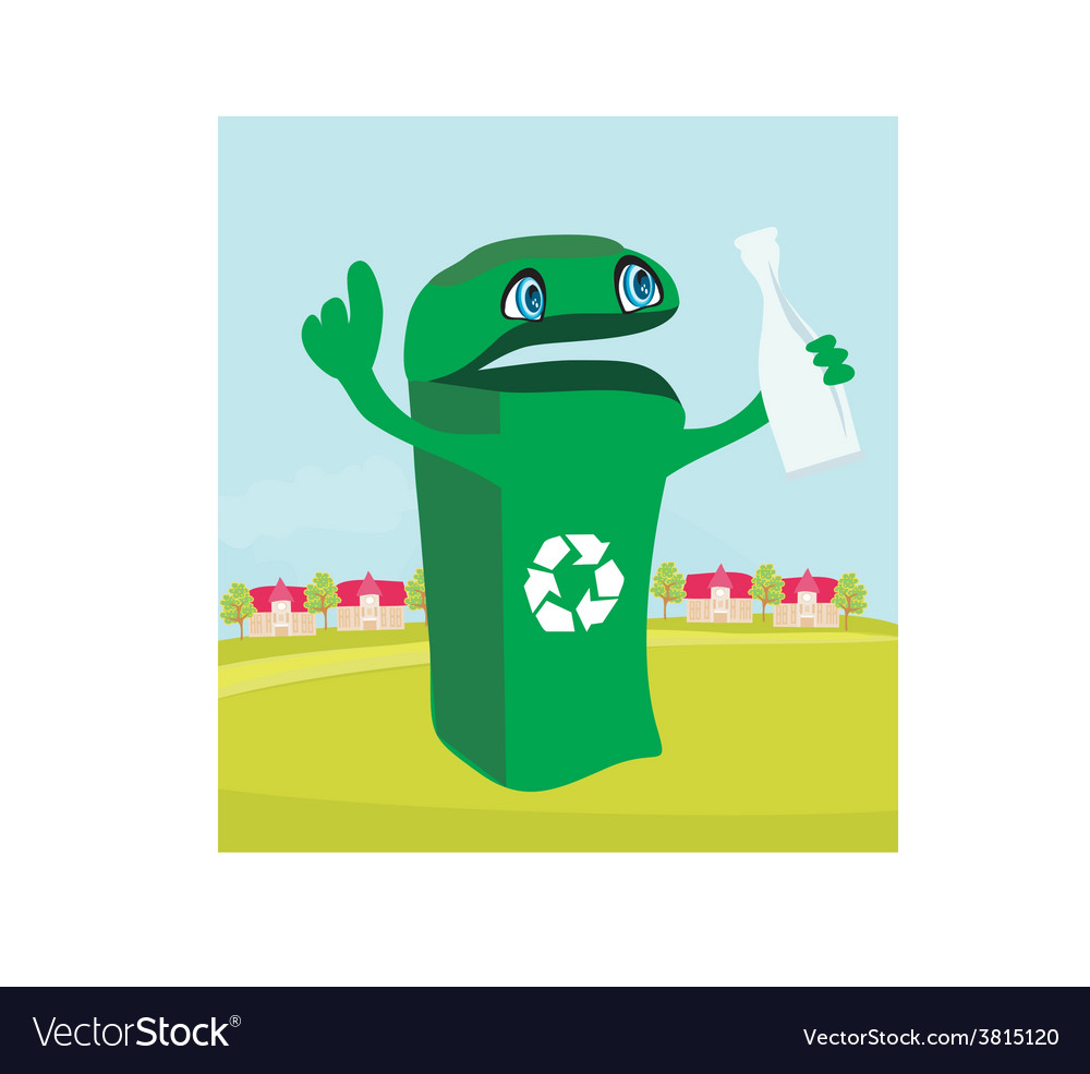 Funny recycling bin holds a glass bottle vector | Price: 1 Credit (USD $1)