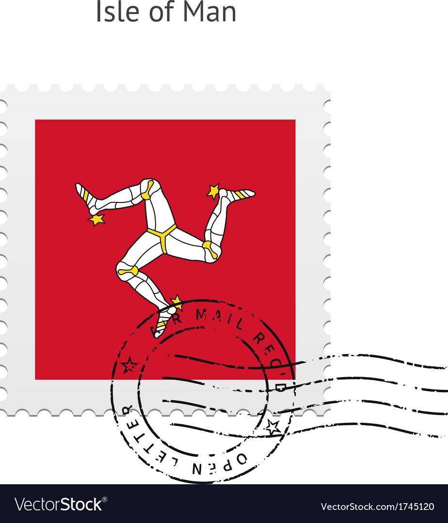 Isle of man flag postage stamp vector | Price: 1 Credit (USD $1)