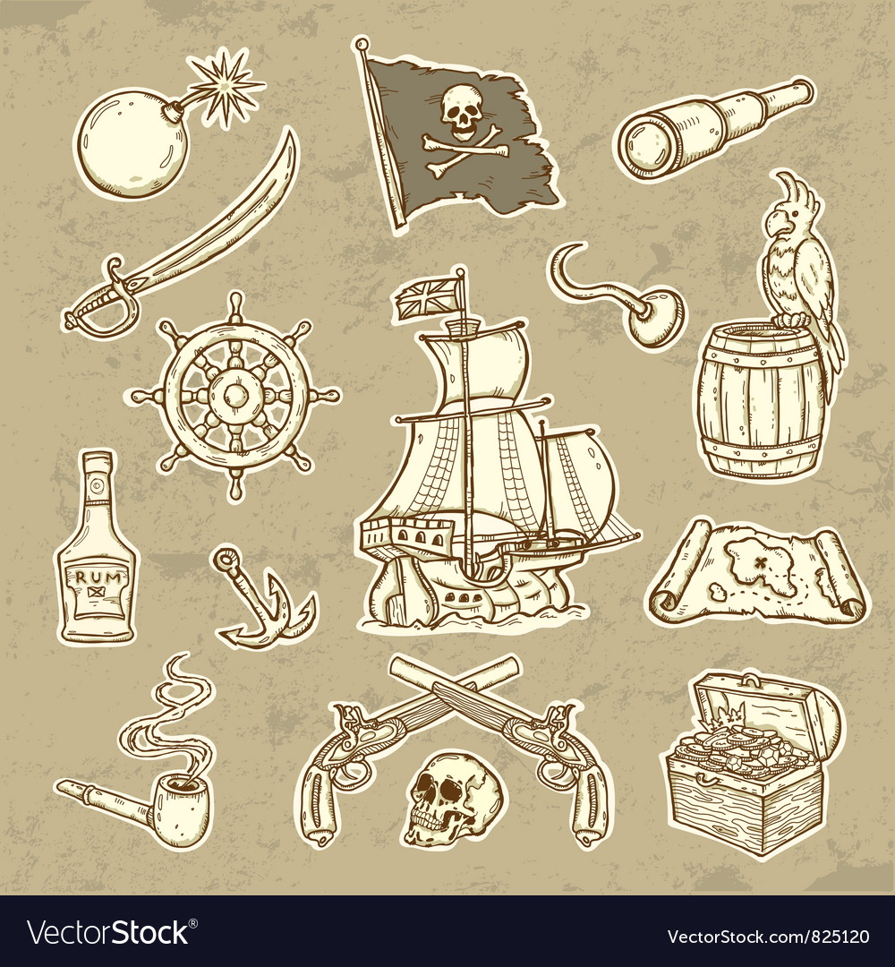 Pirates set vector | Price: 3 Credit (USD $3)