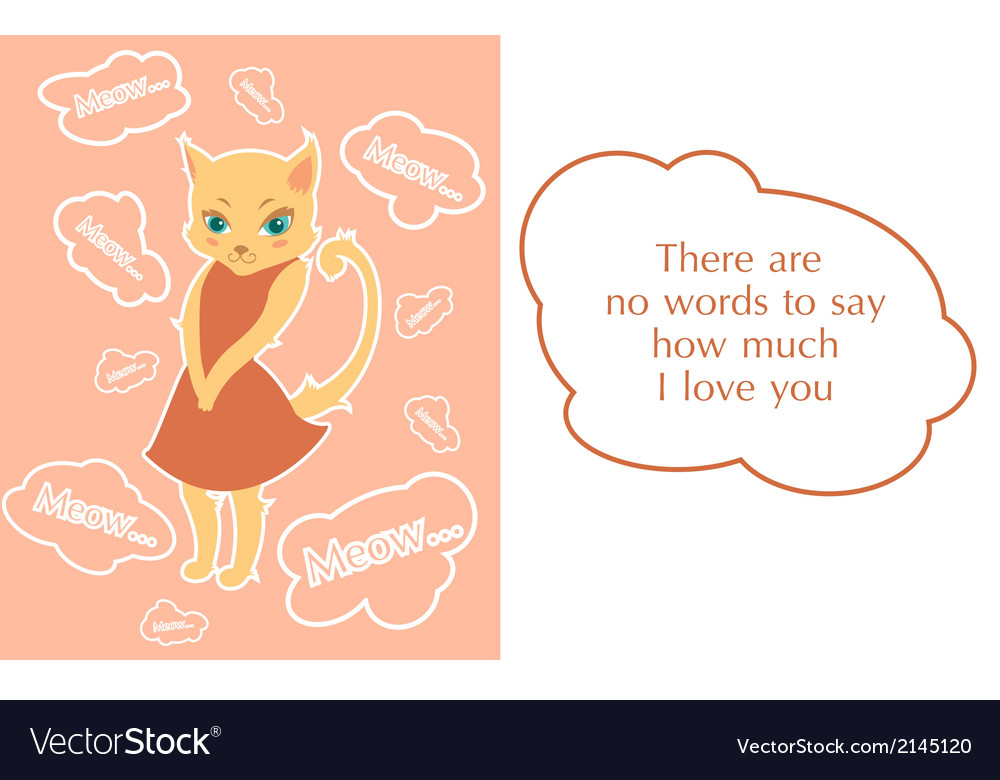 Postcard with beutiful shy kitty vector | Price: 1 Credit (USD $1)