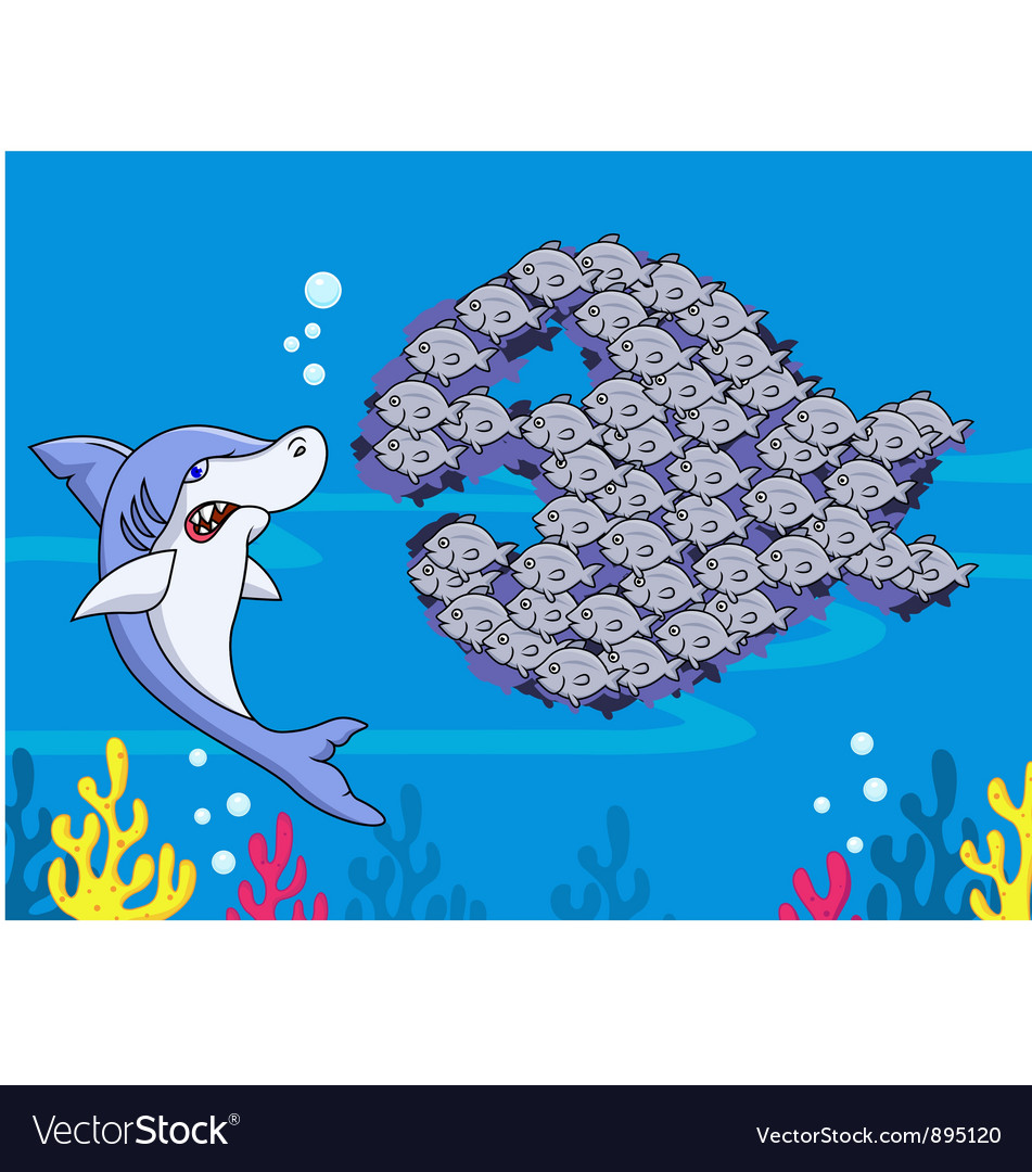 Shark and group of fish vector | Price: 3 Credit (USD $3)