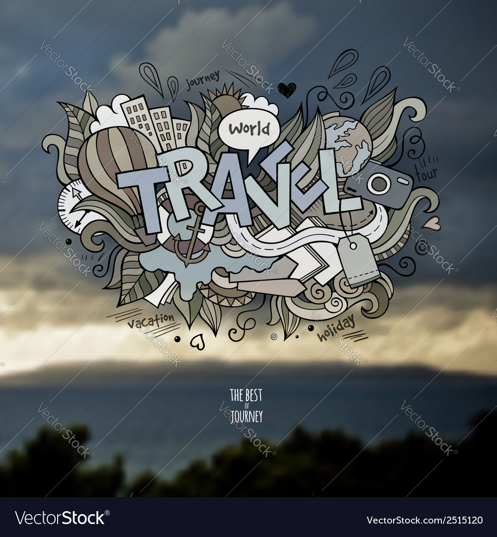 Travel hand lettering and doodles elements vector | Price: 1 Credit (USD $1)