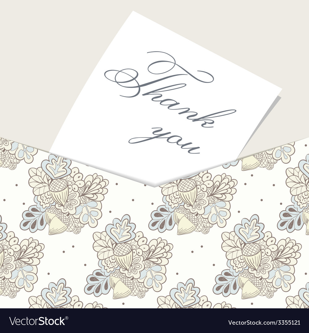 Envelope card with hand drawn oak pattern vector | Price: 1 Credit (USD $1)