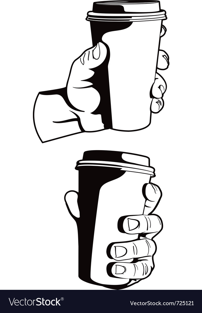 Hand with paper coffee cup vector | Price: 1 Credit (USD $1)
