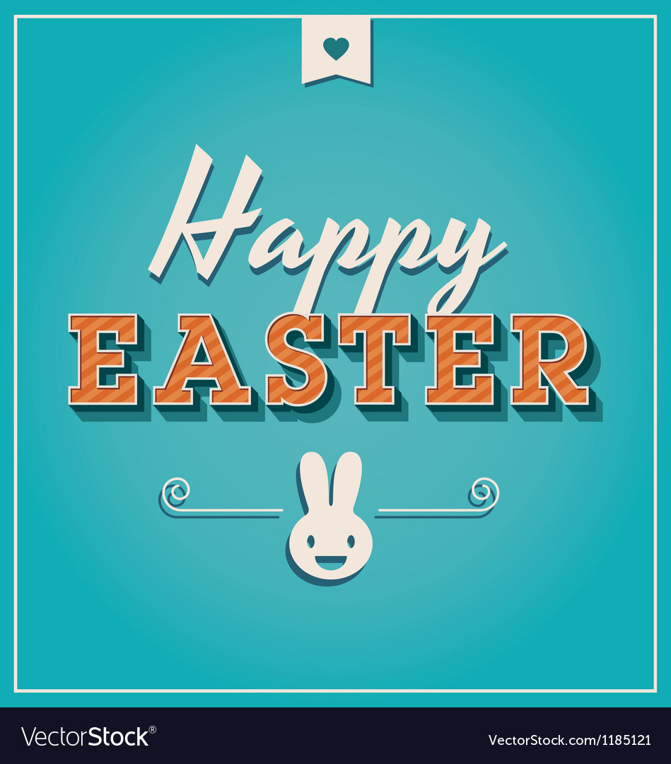Happy easter cards font vintage retro vector | Price: 1 Credit (USD $1)