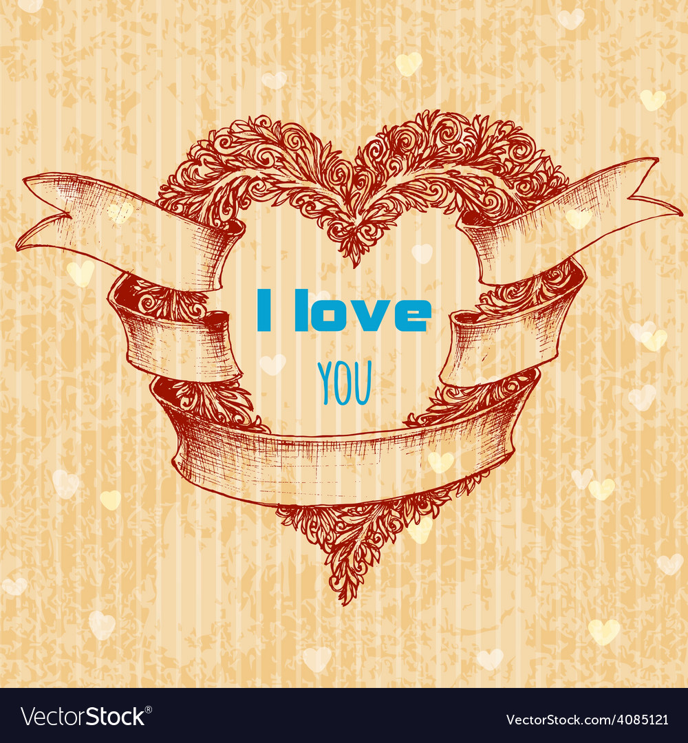 I love you typing over heart wreath valentines day vector | Price: 1 Credit (USD $1)
