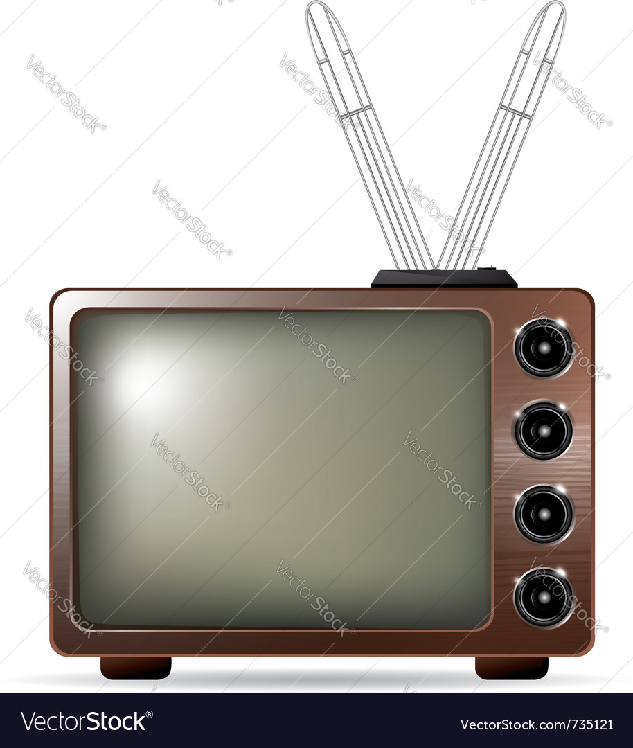 Retro tv with antenna vector | Price: 1 Credit (USD $1)