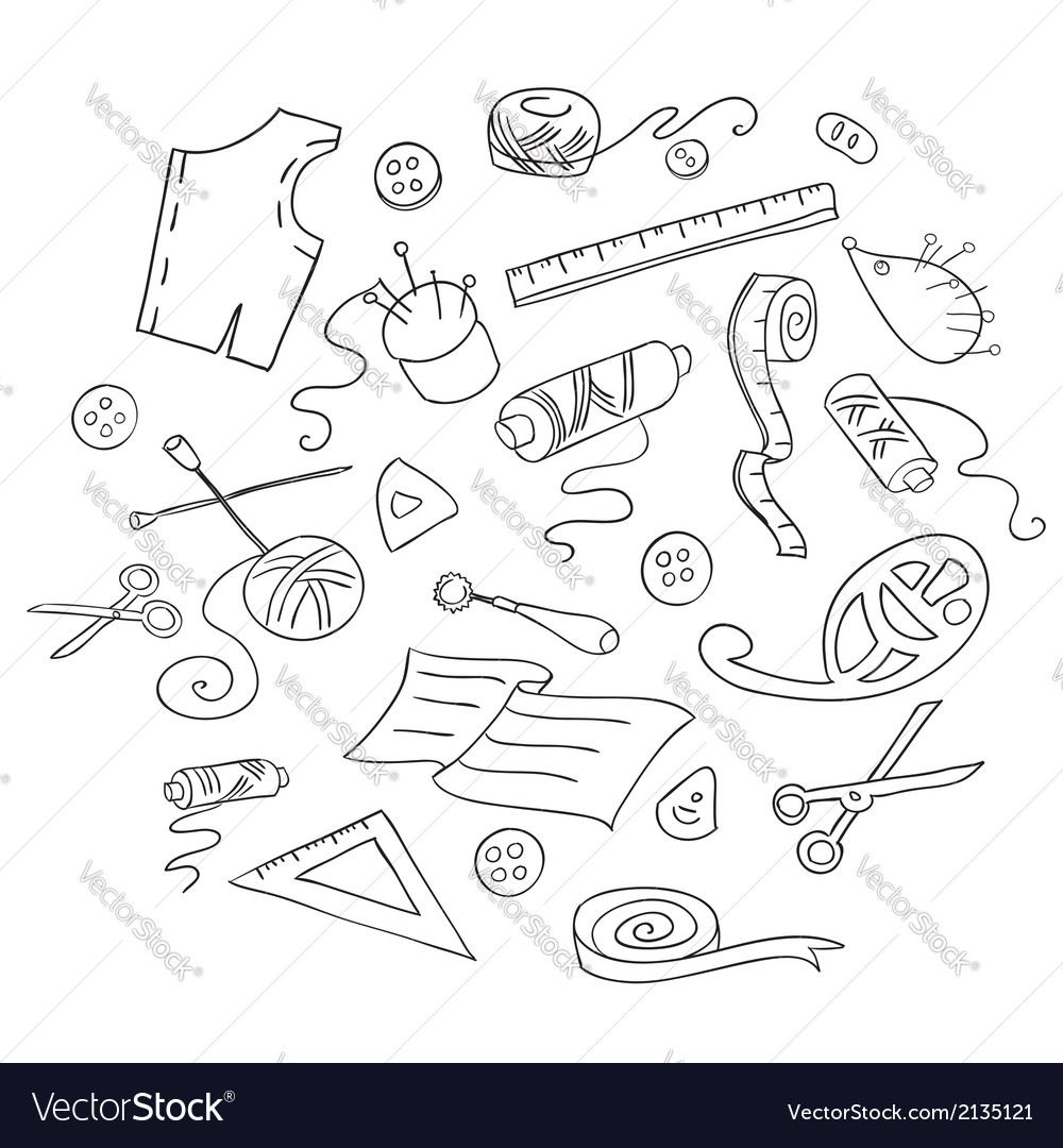 Sketch of sewing tools vector | Price: 1 Credit (USD $1)