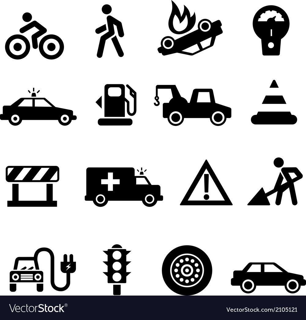 Traffic icons black on white vector | Price: 1 Credit (USD $1)