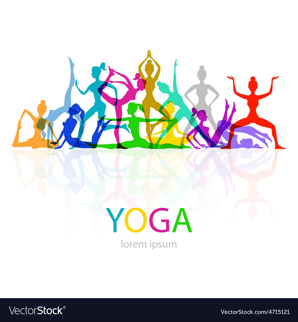 Yoga poses woman silhouette vector | Price: 1 Credit (USD $1)