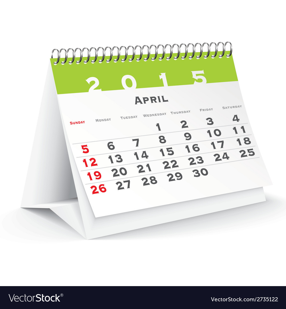 April 2015 desk calendar - vector | Price: 1 Credit (USD $1)