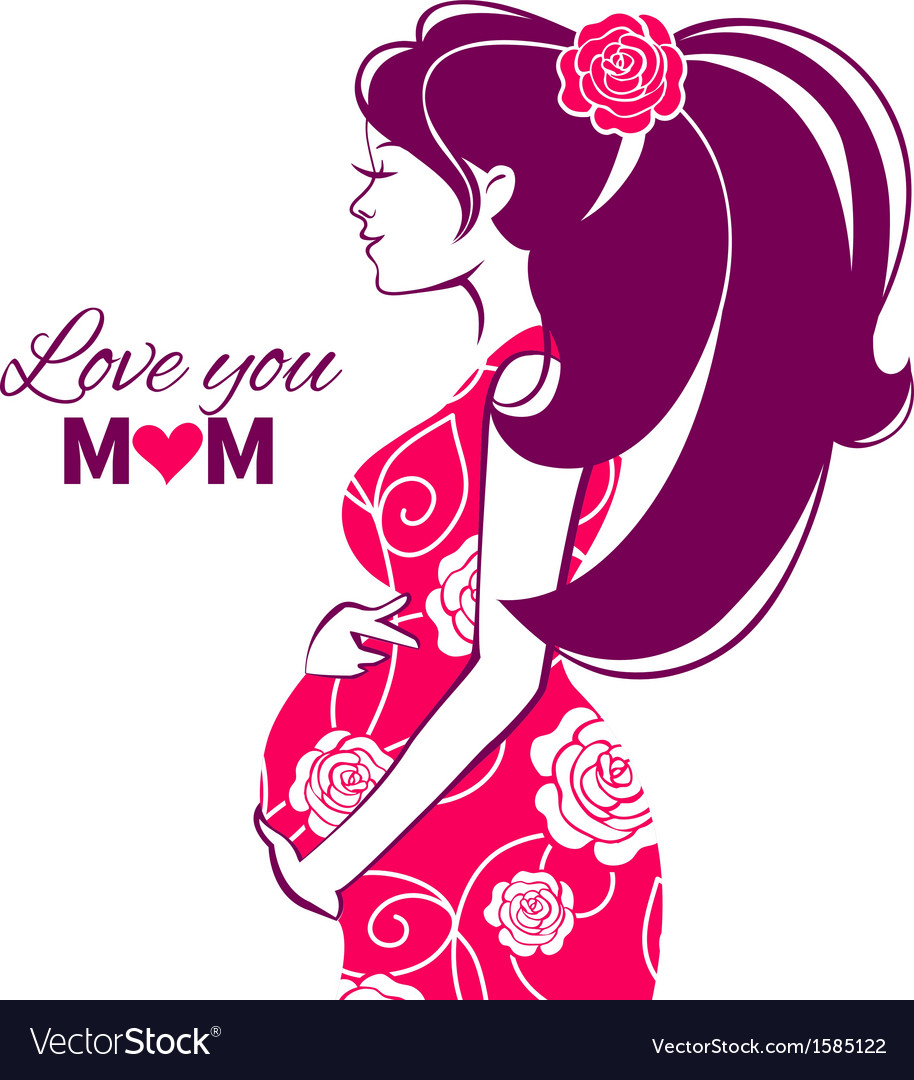 Beautiful silhouette of pregnant woman vector | Price: 1 Credit (USD $1)