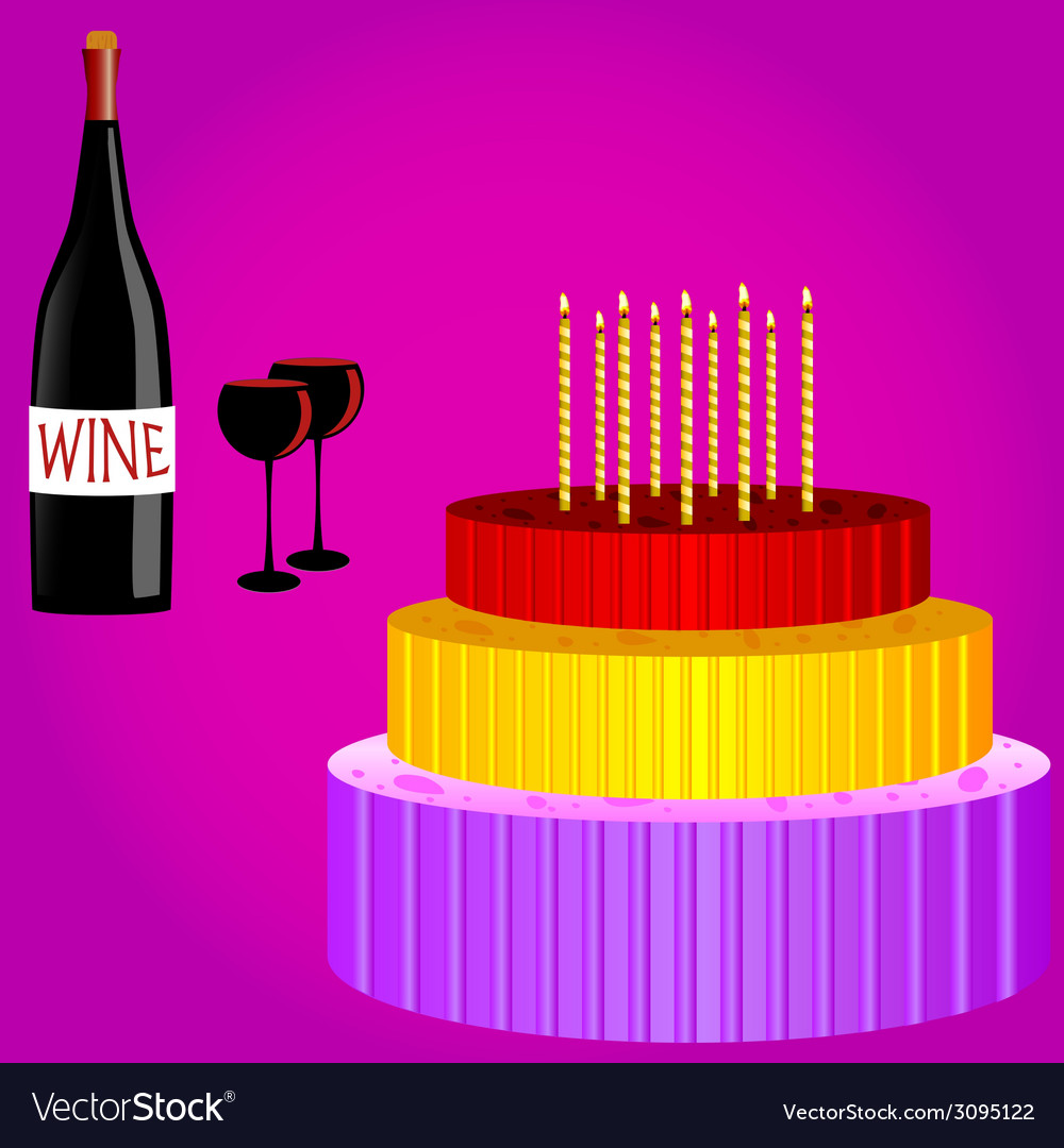 Birthday cake with wine cartoon vector | Price: 1 Credit (USD $1)