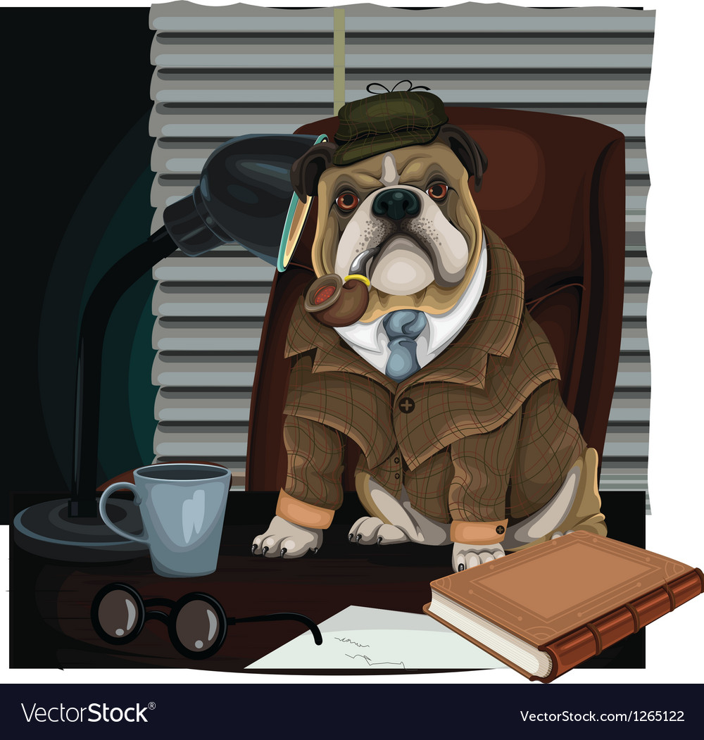 Bulldog detective vector | Price: 5 Credit (USD $5)