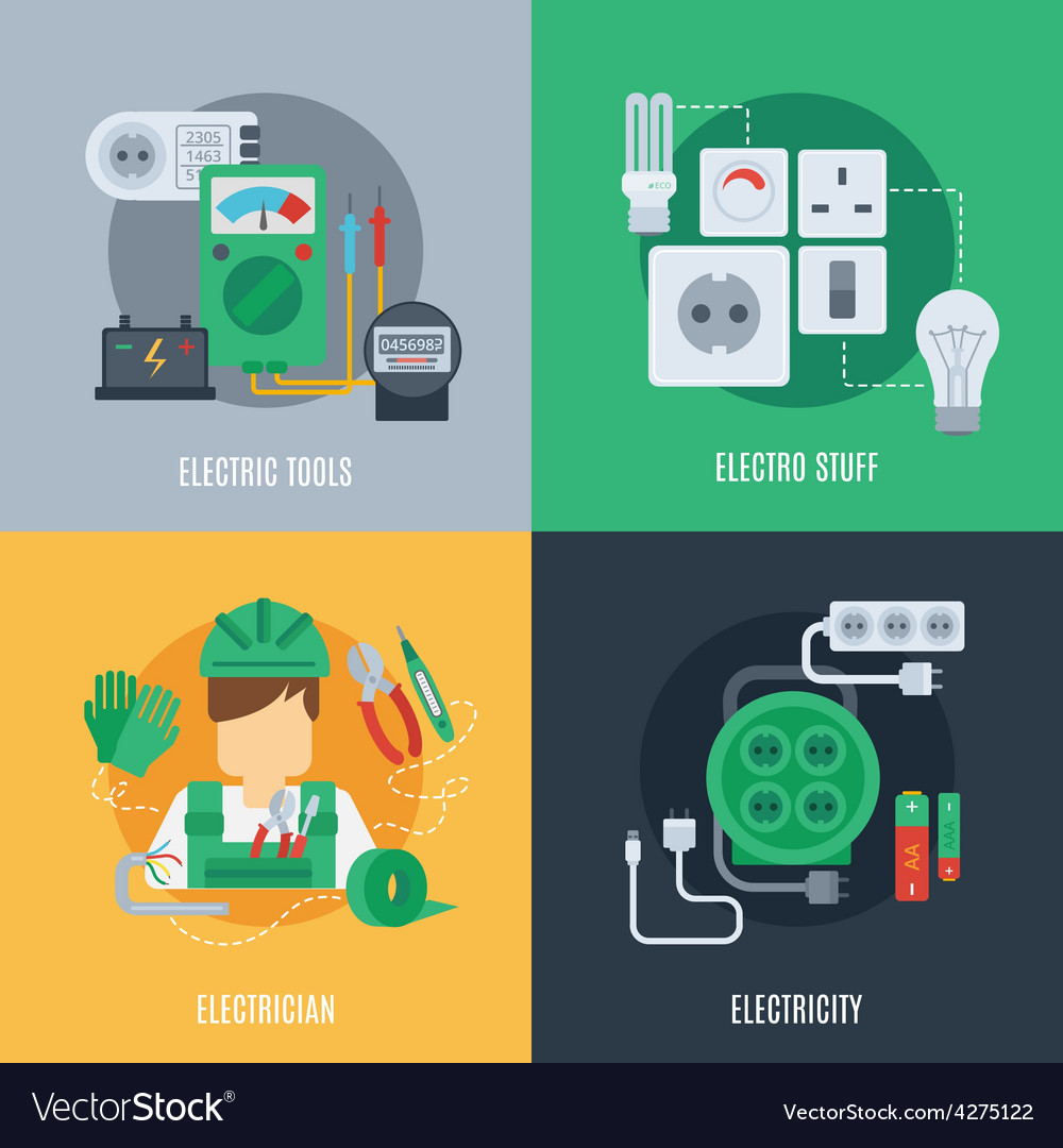 Electricity flat icons vector | Price: 1 Credit (USD $1)