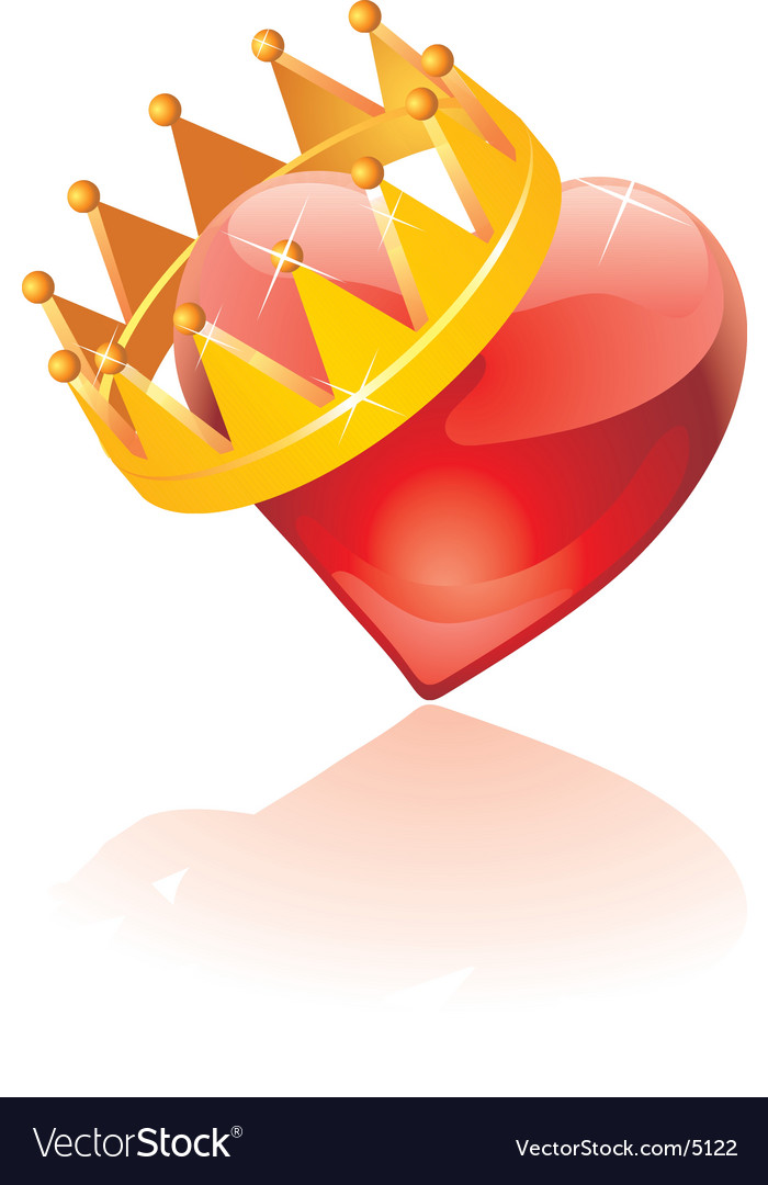 Glass crowned heart vector | Price: 1 Credit (USD $1)