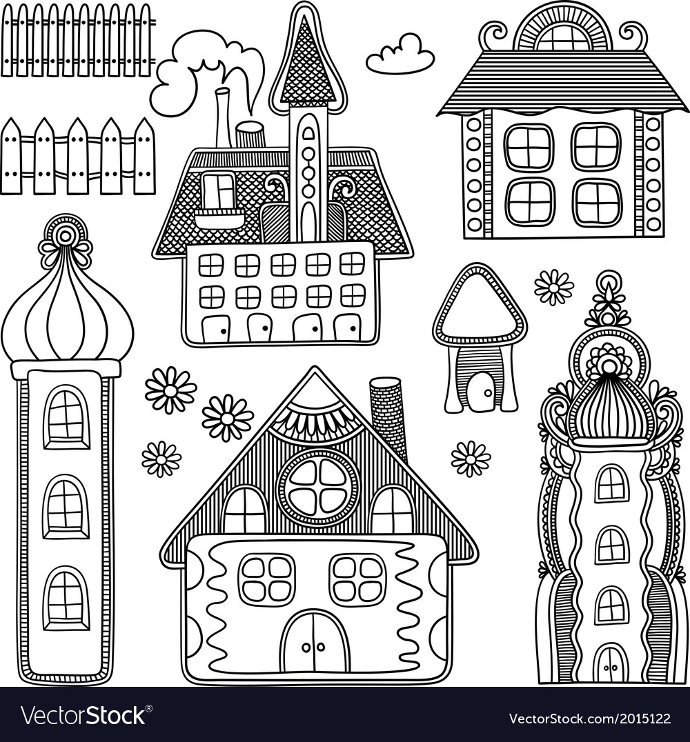 Hand draw ornate decorative house drawing set vector   Price: 1 Credit (USD $1)