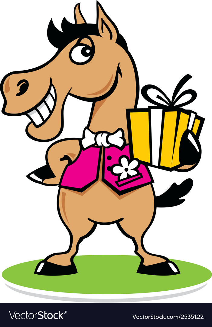 Merry horse with a gift logo vector | Price: 1 Credit (USD $1)