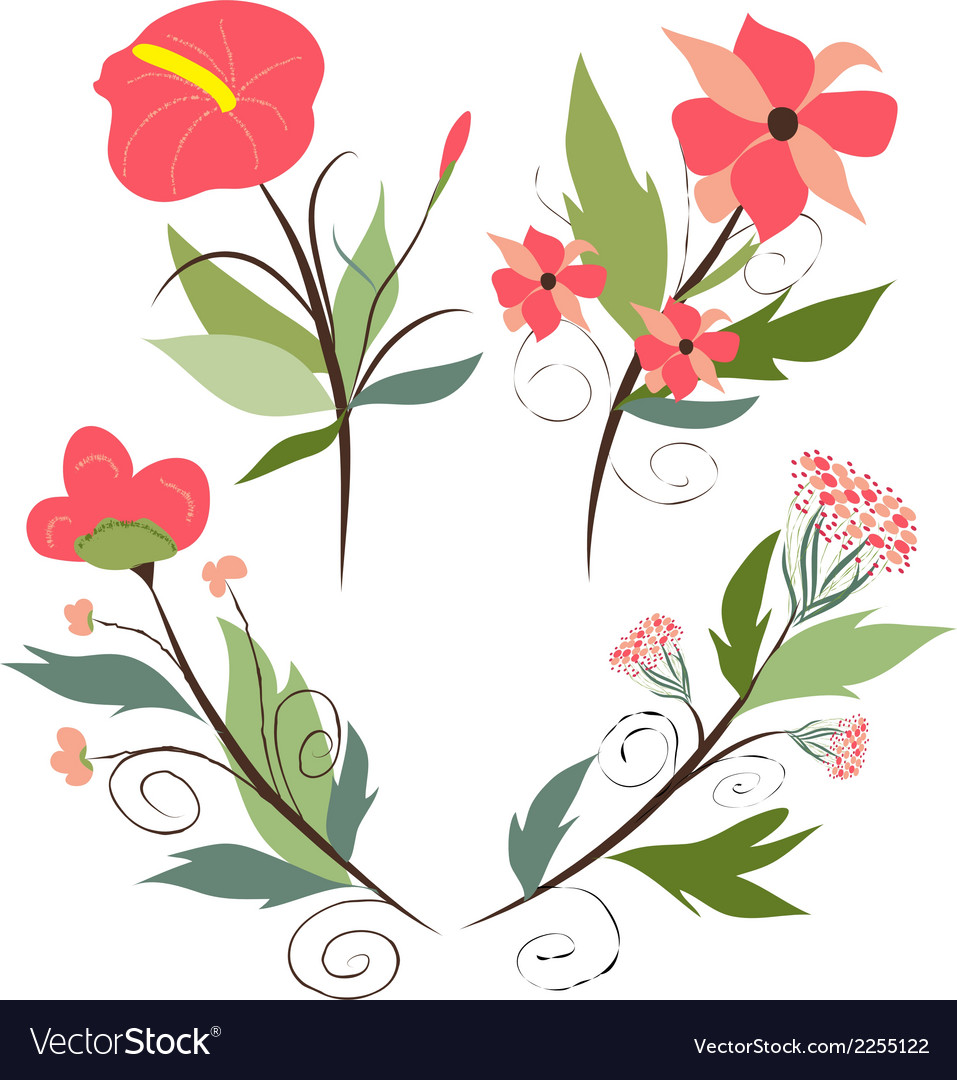 Set of botanical graphic elements vector | Price: 1 Credit (USD $1)
