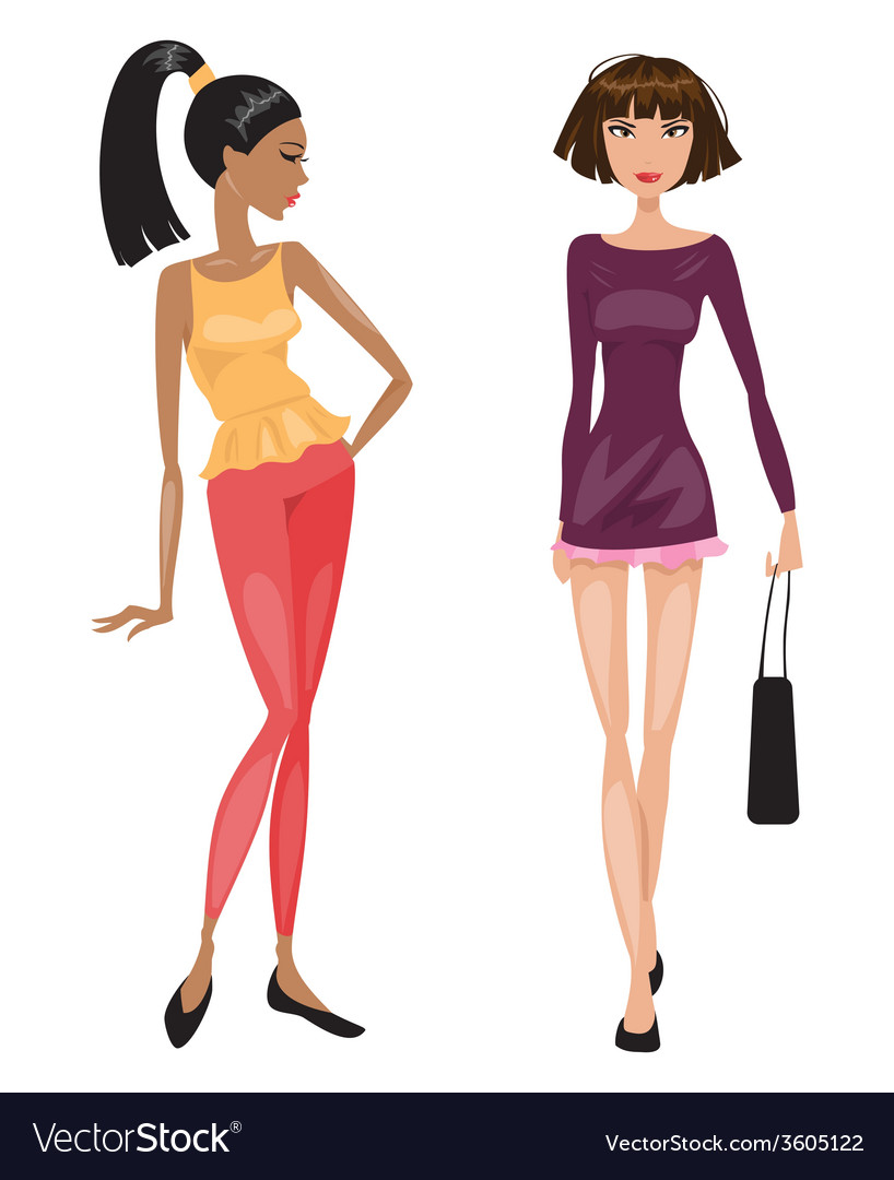 Two young beautiful fashionable woman vector | Price: 1 Credit (USD $1)