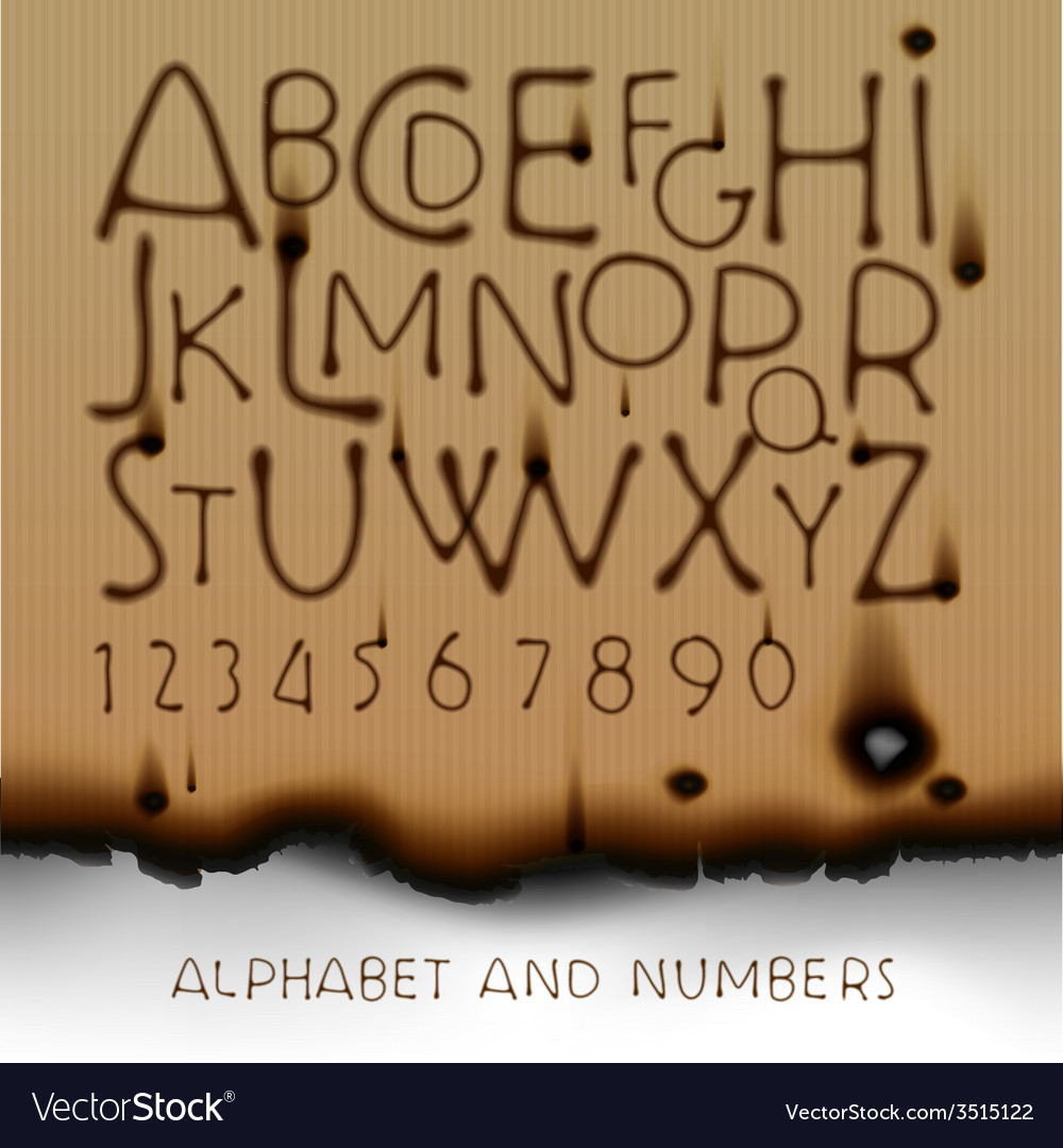 Vintage alphabet and numbers on burned out paper vector | Price: 1 Credit (USD $1)