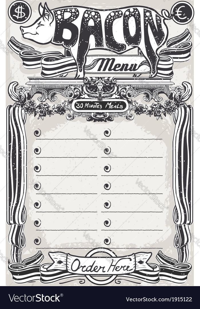 Vintage page bacon menu for restaurant vector | Price: 1 Credit (USD $1)