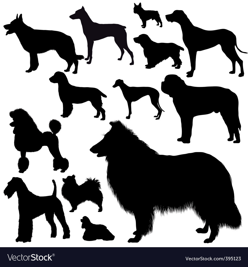 Dogs silhouettes vector | Price: 1 Credit (USD $1)