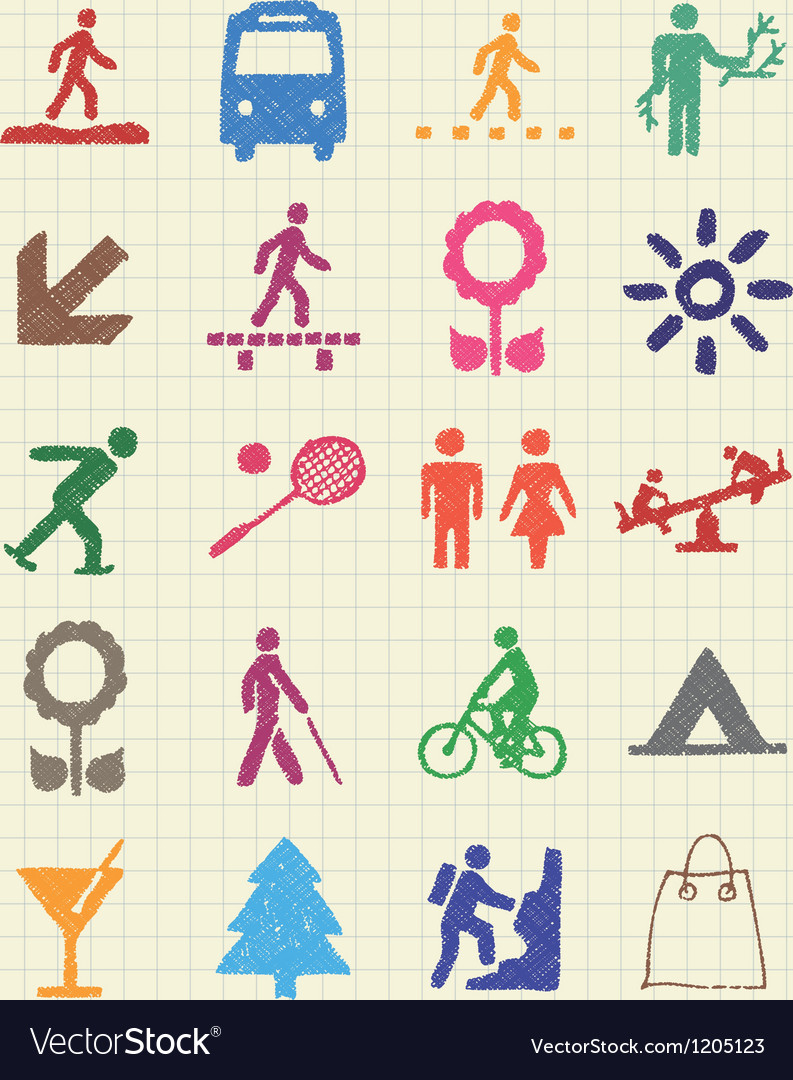 Family and vacation human figures icons set vector | Price: 1 Credit (USD $1)