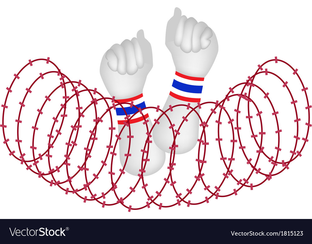 Human hand clenched fist after wire barrier vector | Price: 1 Credit (USD $1)