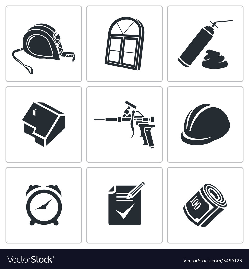 Installation of windows icons set vector