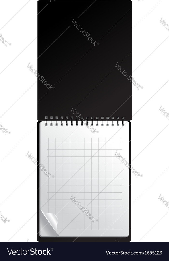 Open black notebook with page curl vector | Price: 1 Credit (USD $1)