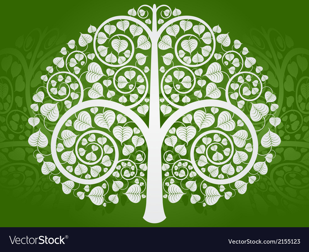 Silver buddha tree on a green background vector | Price: 1 Credit (USD $1)