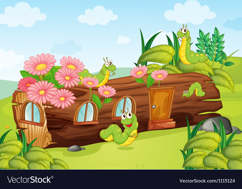 A caterpillar and a wood house vector | Price: 1 Credit (USD $1)