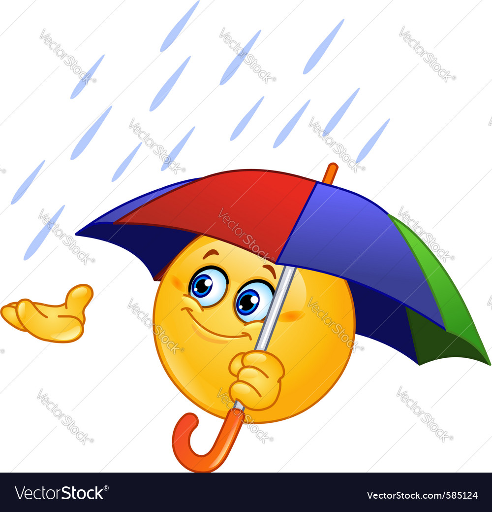 Emoticon with umbrella vector | Price: 3 Credit (USD $3)