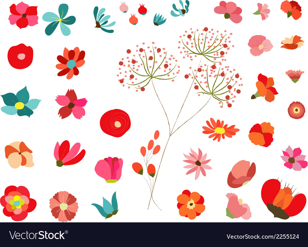 Flowers decoration set vector | Price: 1 Credit (USD $1)
