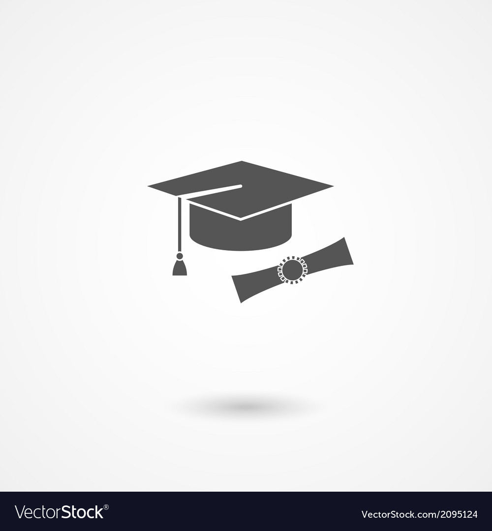 Graduation cap and diploma icon vector | Price: 1 Credit (USD $1)