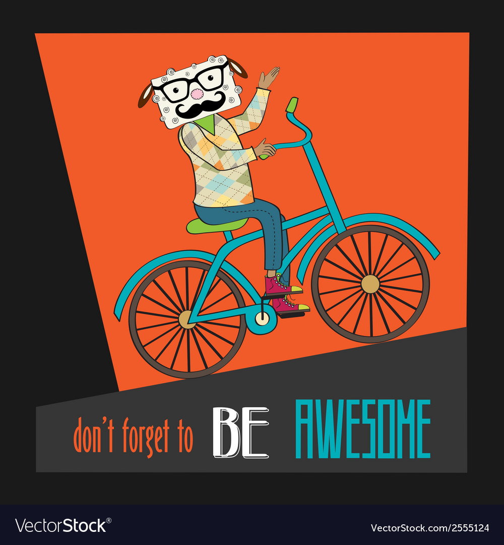 Hipster poster with nerd sheep riding bike vector | Price: 1 Credit (USD $1)
