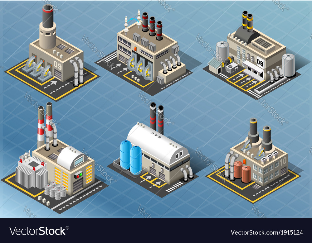 Isometric set of energy industries buildings vector | Price: 1 Credit (USD $1)