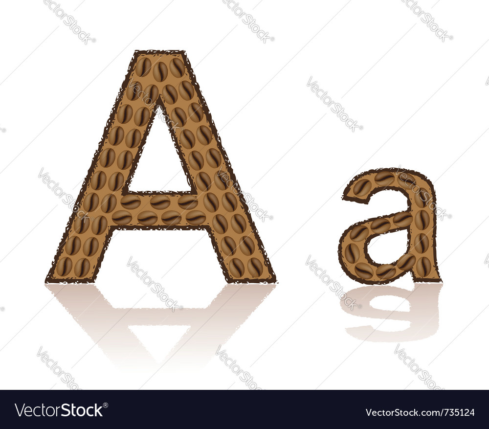 Letter a is made grains of coffee isolated on whit vector | Price: 1 Credit (USD $1)