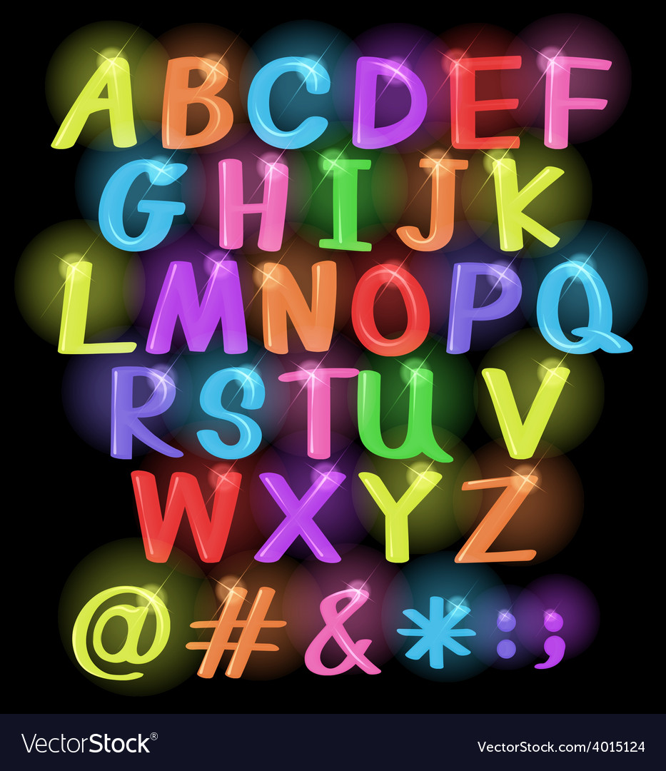 Neon coloured letters vector | Price: 1 Credit (USD $1)