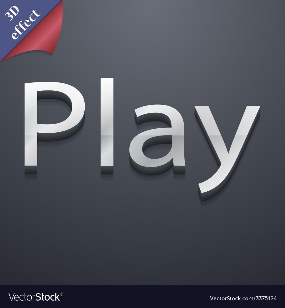 Play icon symbol 3d style trendy modern design vector | Price: 1 Credit (USD $1)