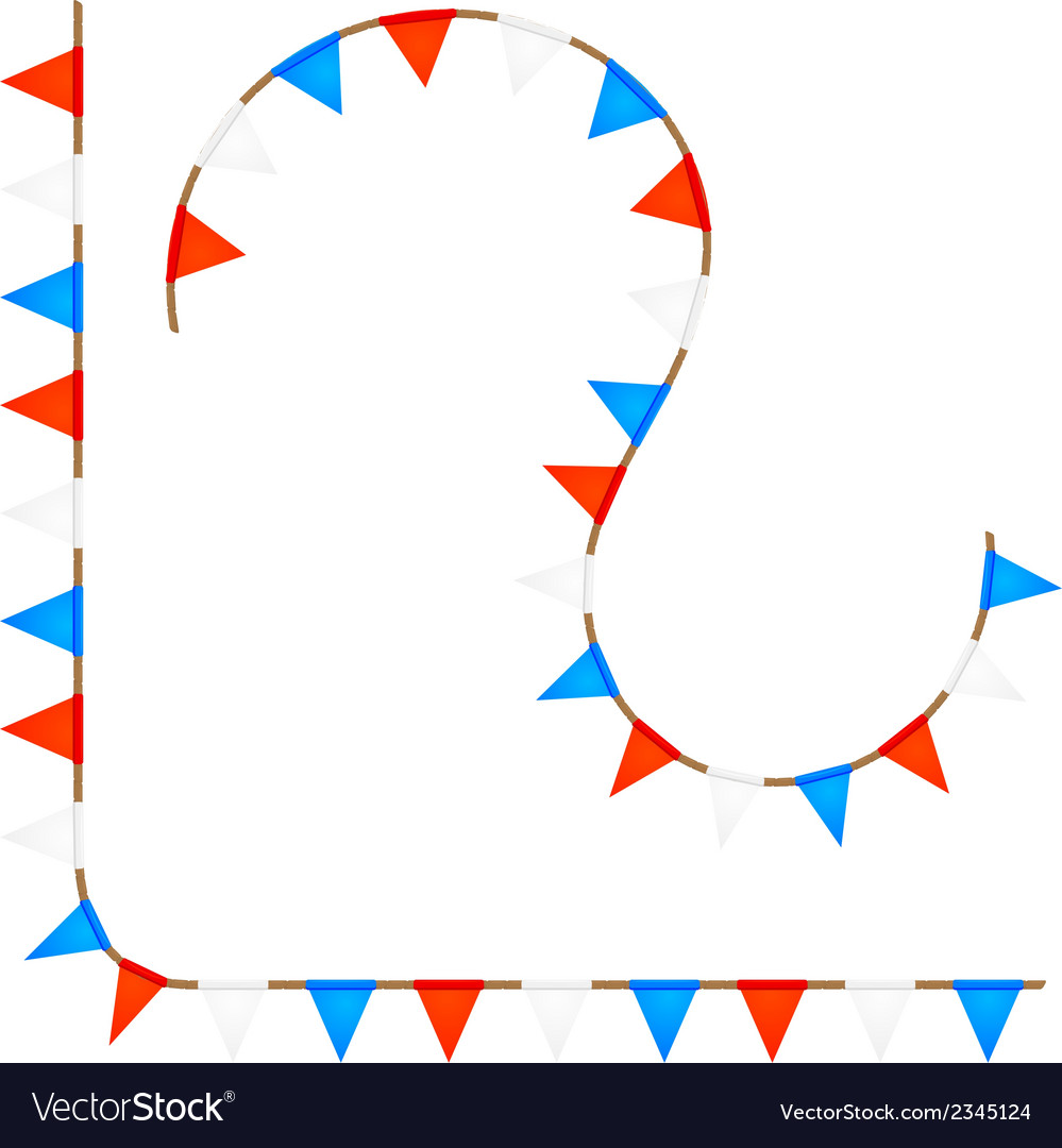 Set curved ropes with colored flags vector | Price: 1 Credit (USD $1)