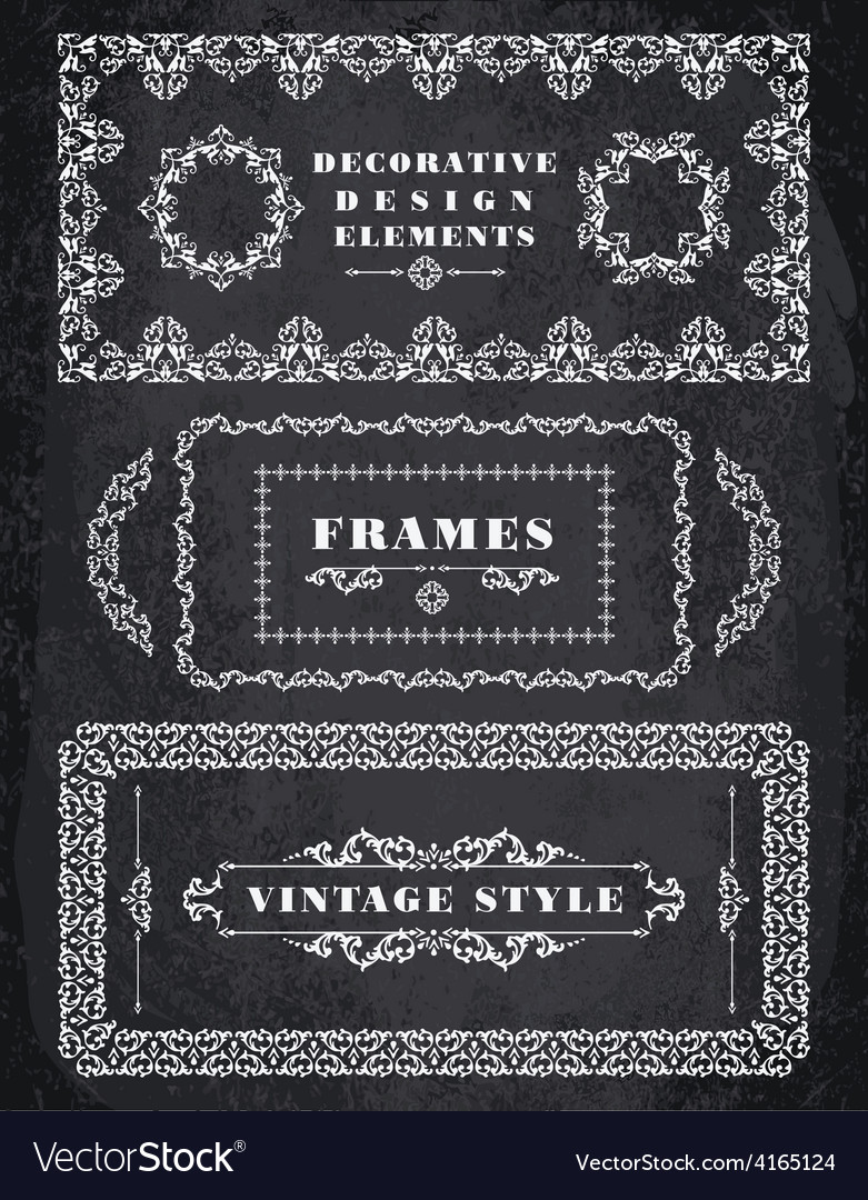 Set of retro vintage frames and borders chalk vector | Price: 1 Credit (USD $1)