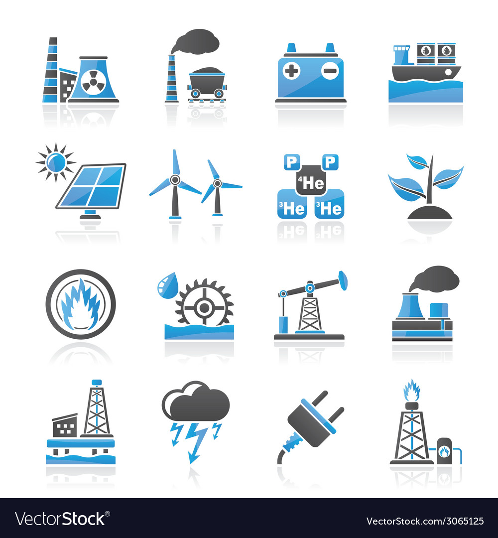 Electricity and energy source icons vector | Price: 1 Credit (USD $1)