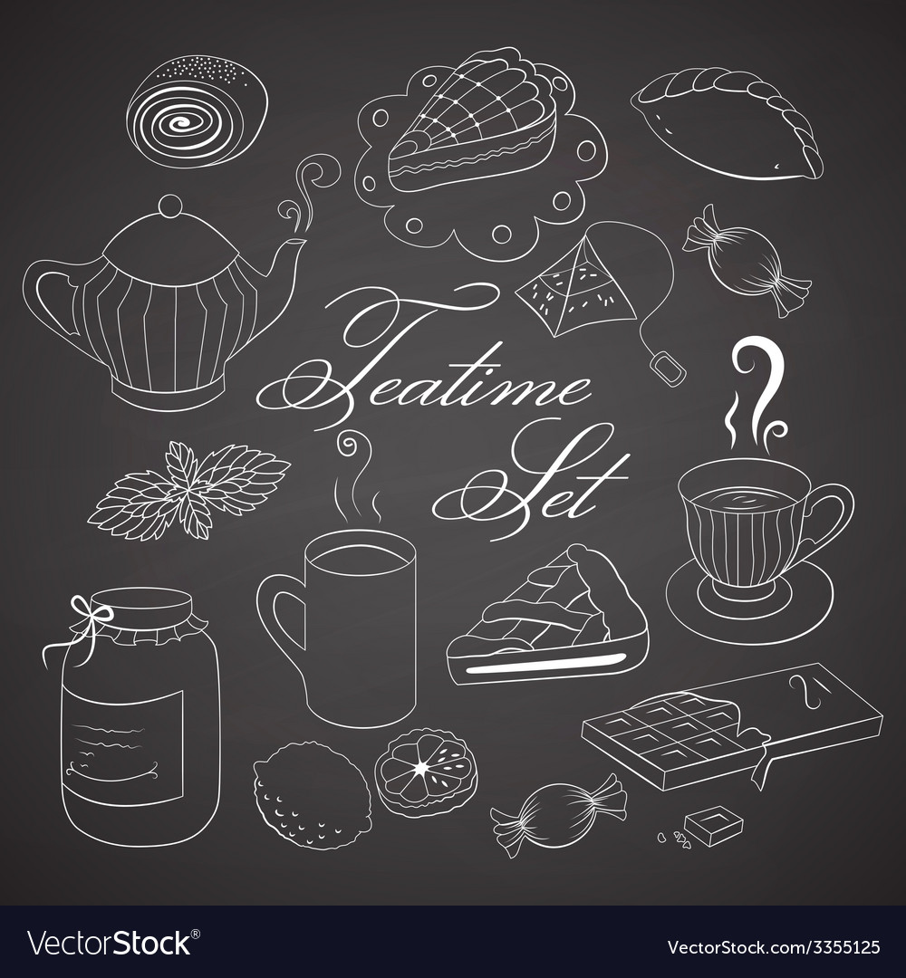 Handdrawn teatime set on black chalkboard vector | Price: 1 Credit (USD $1)