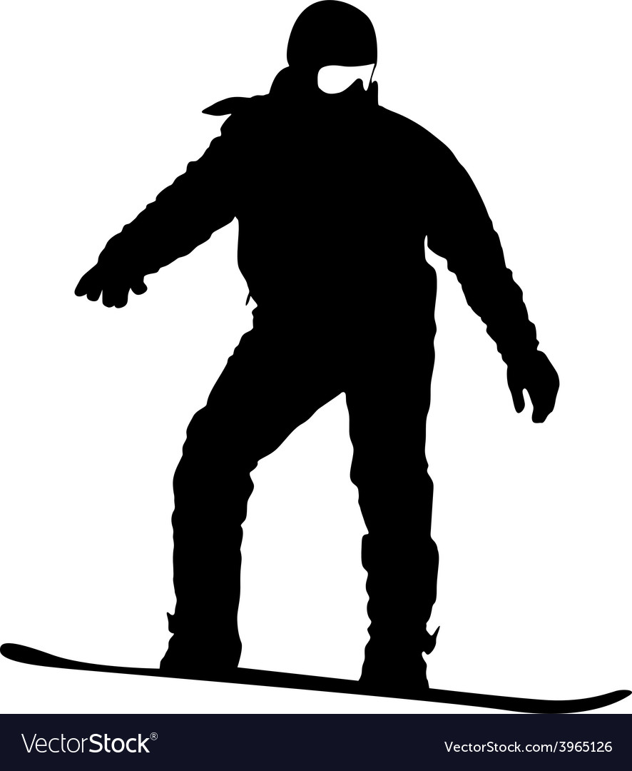 Black silhouette snowboarder on white background vector   Price: 1 Credit (USD $1)