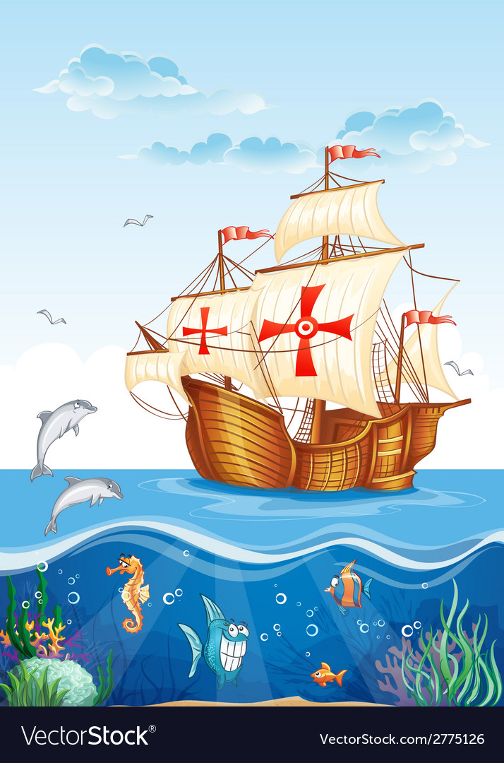 Childrens of the water world with a sailing ship vector | Price: 3 Credit (USD $3)