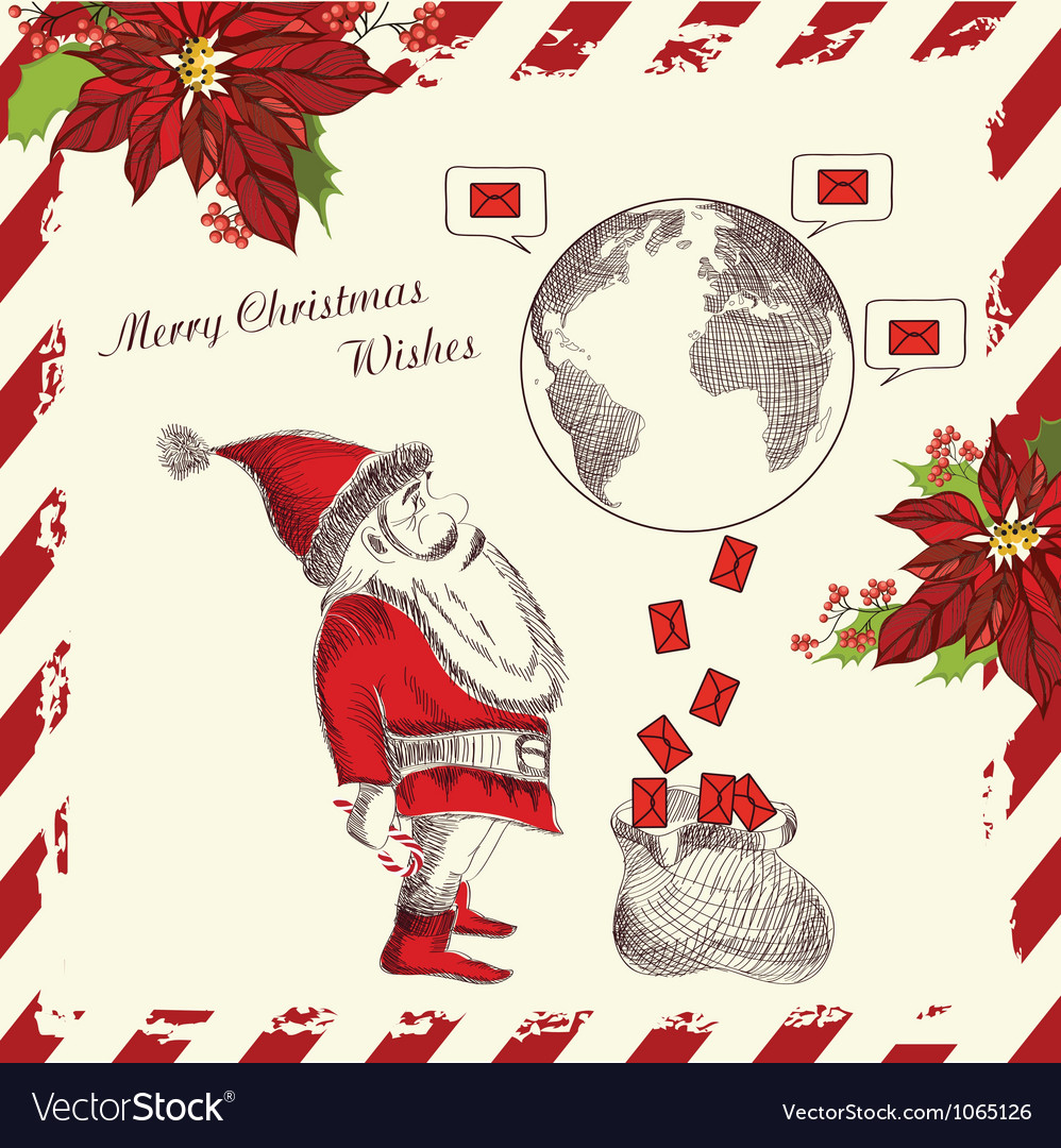 Christmas greeting card with funny santa claus vector | Price: 1 Credit (USD $1)