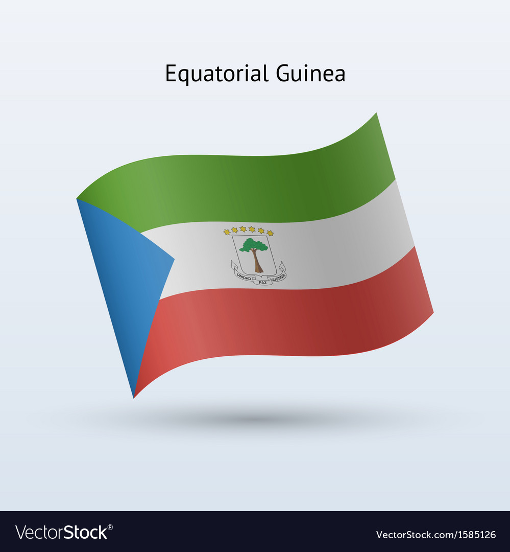 Equatorial guinea flag waving form vector | Price: 1 Credit (USD $1)
