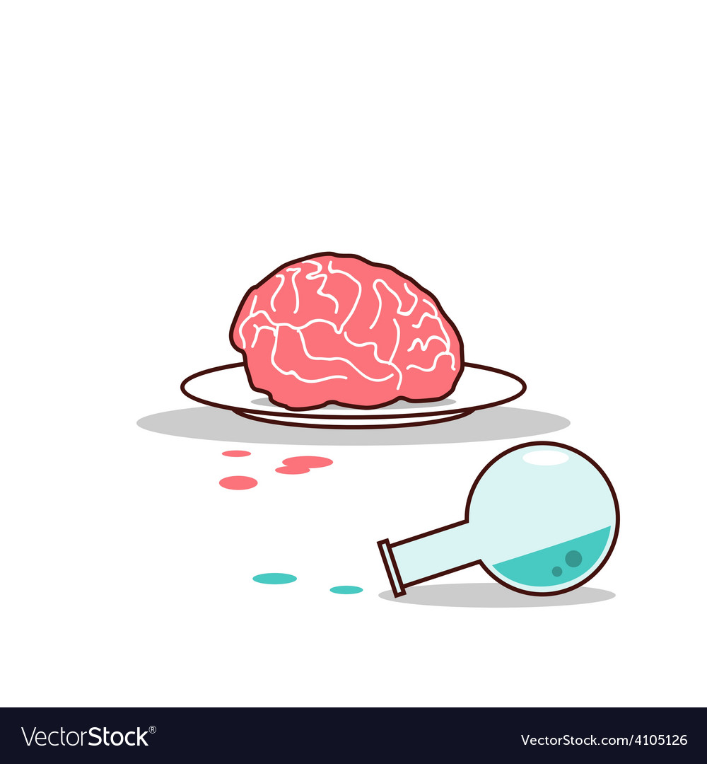 Isolated cartoon brain on plate and blue chemical vector | Price: 1 Credit (USD $1)
